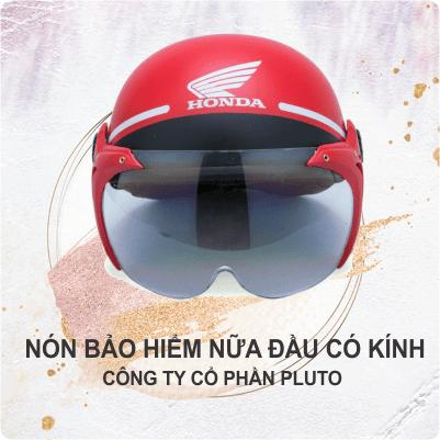 Mũ bảo hiểm quảng cáo nữa đầu - Ốp da - Pluto