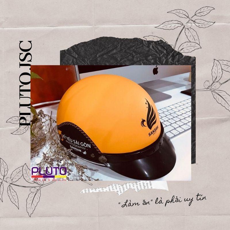 In logo nón bảo hiểm quảng cáo theo yêu cầu
